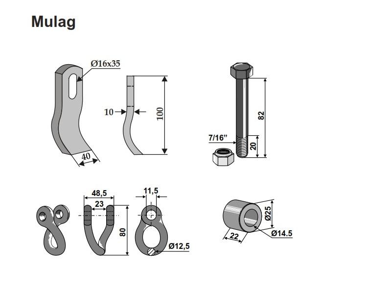 Set cutite Mulag L - 100-40