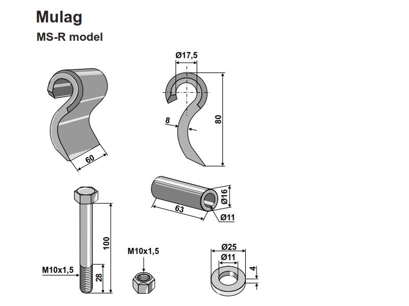 Set cutite Mulag S - 80-60