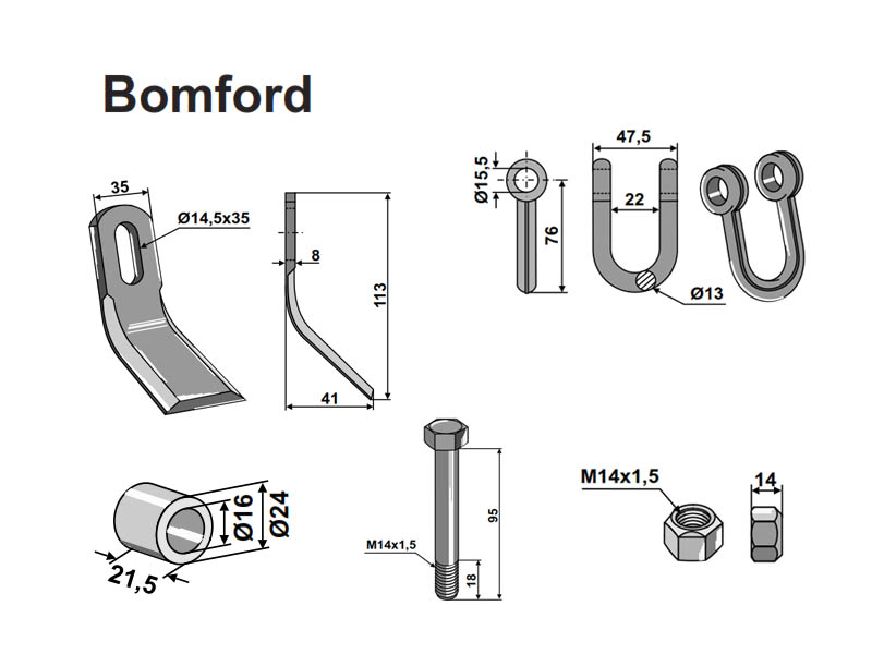 Set cutite Bomford 113-41