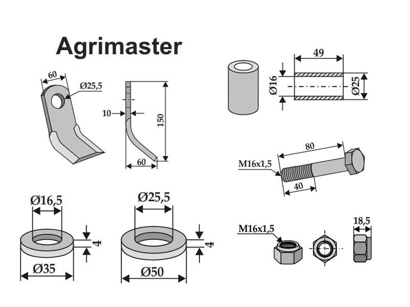 Set cutite cositoare Agrimaster